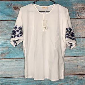 Tory Burch White Embroidered Amy Top XS NWT